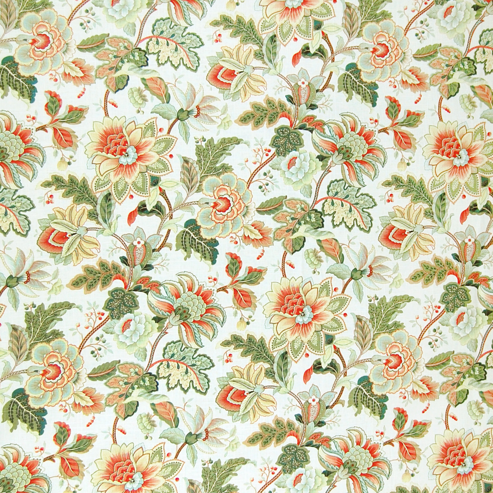 Opal Green And Orange Floral Linen Upholstery Fabric