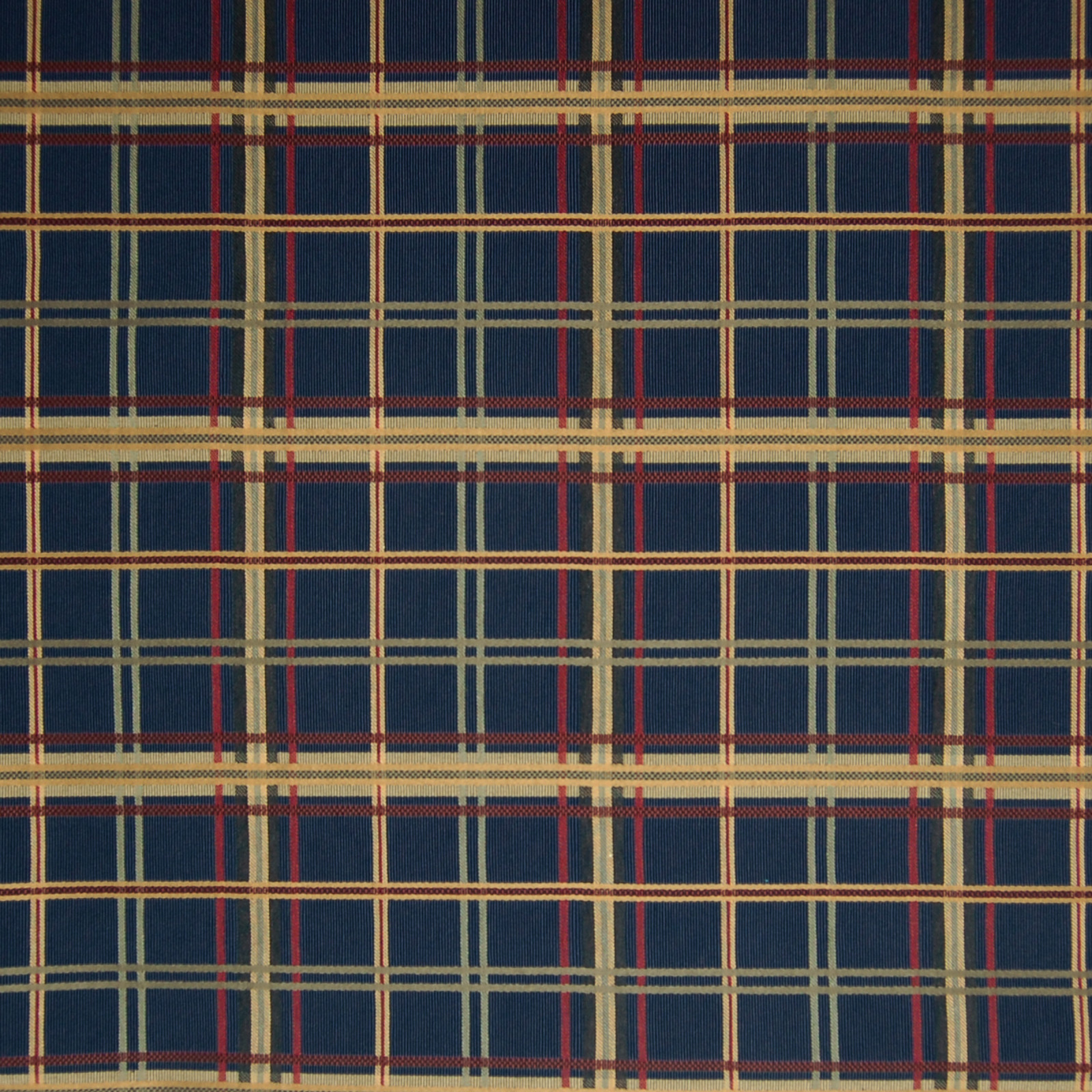 Navy Blue Plaid Woven Upholstery Fabric