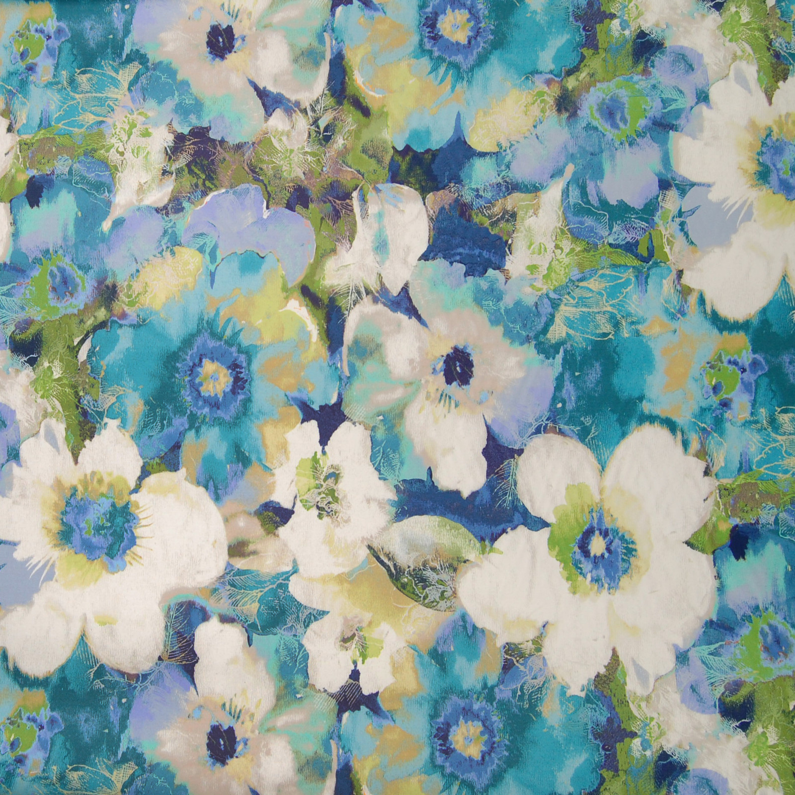 Bermuda Blue And Teal Floral Cotton Upholstery Fabric