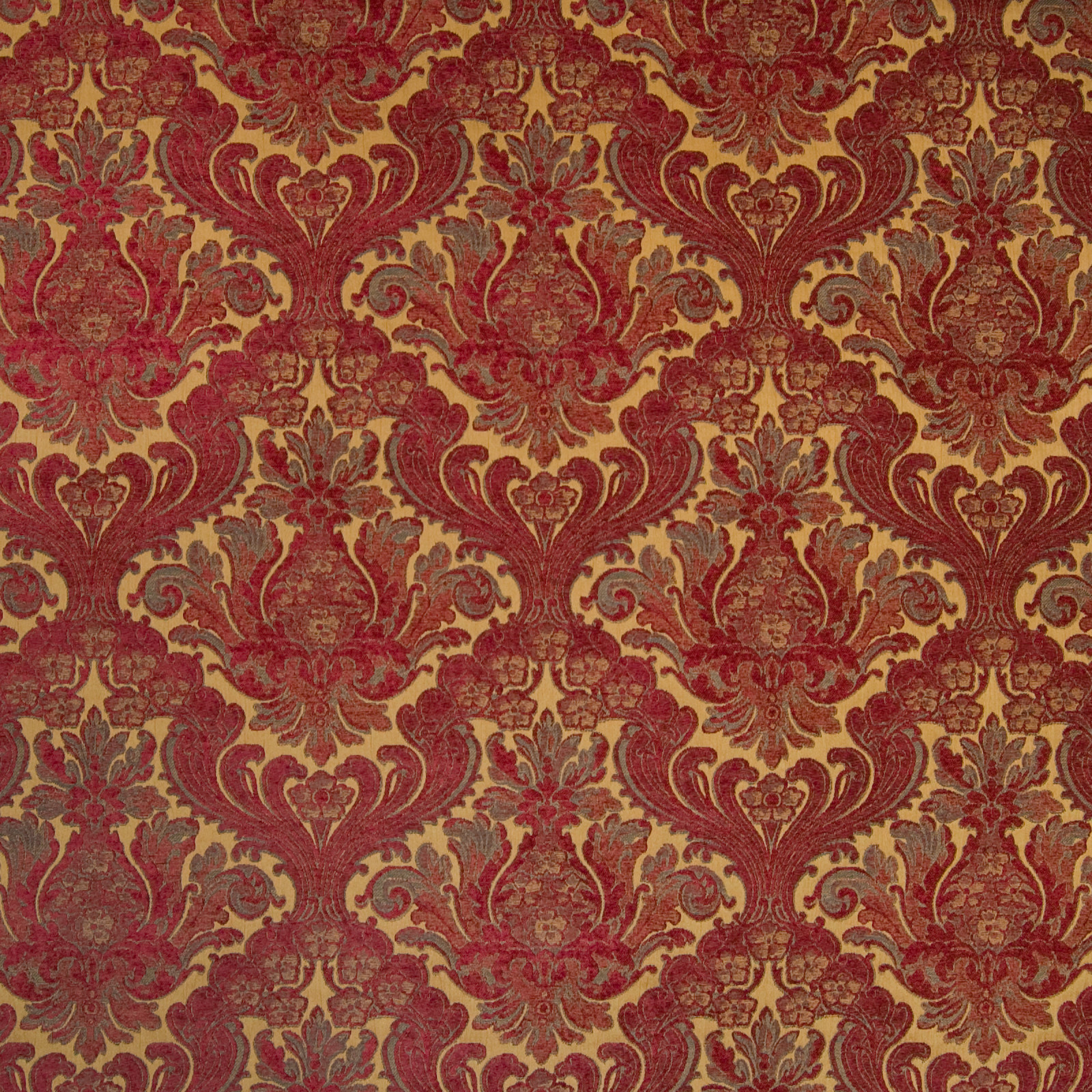 Moroccan Red Red Floral Chenille Upholstery Fabric
