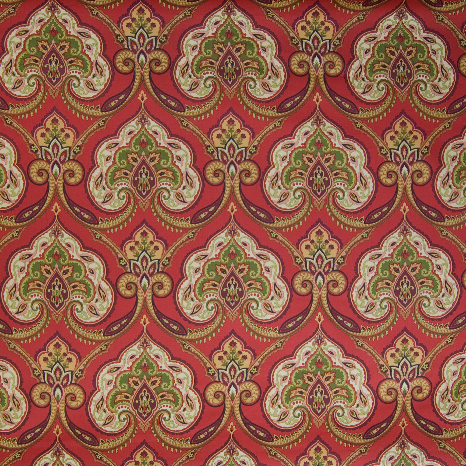 Moroccan Red Red Medallion Cotton Upholstery Fabric