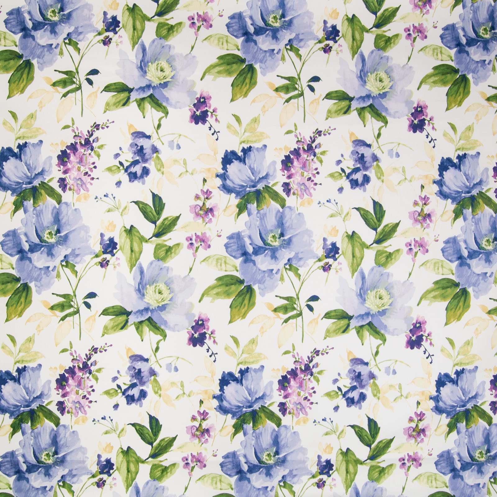 Periwinkle Blue And Purple Floral Cotton Upholstery Fabric