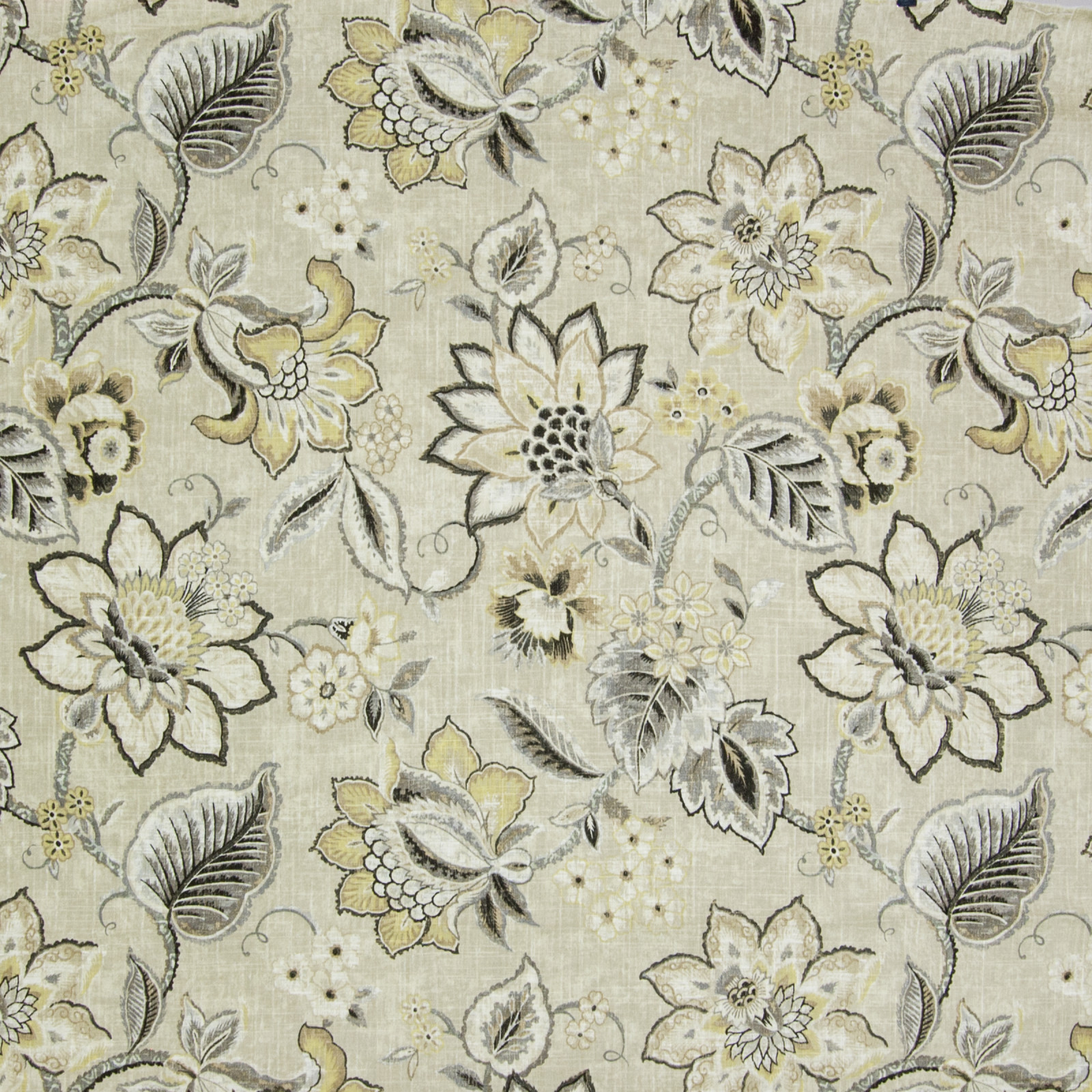 Flax Yellow And Gold Floral Print Upholstery Fabric