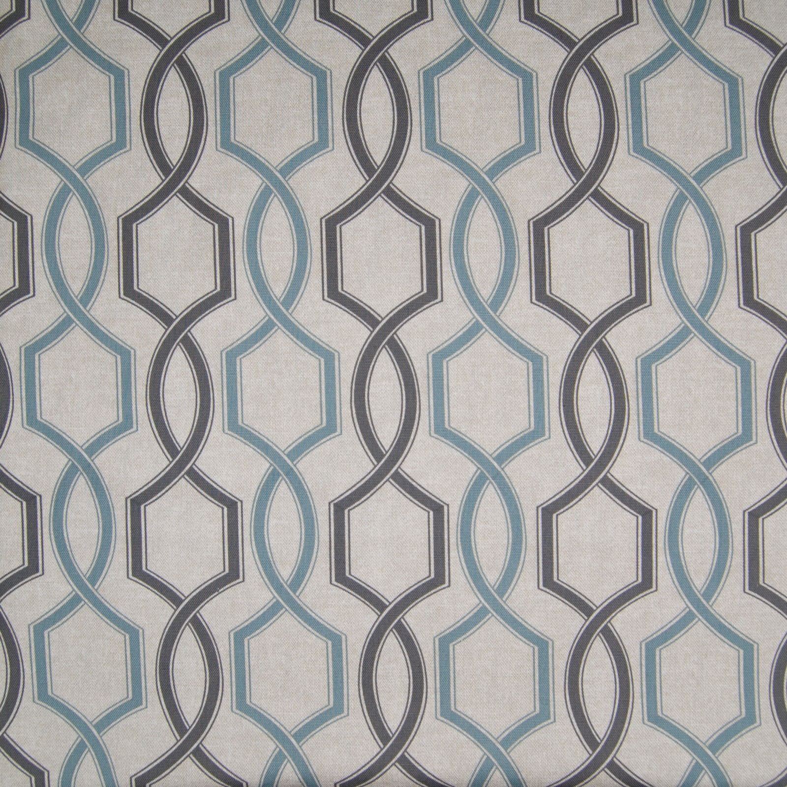 Seafoam Blue And Gray Geometric Cotton Upholstery Fabric