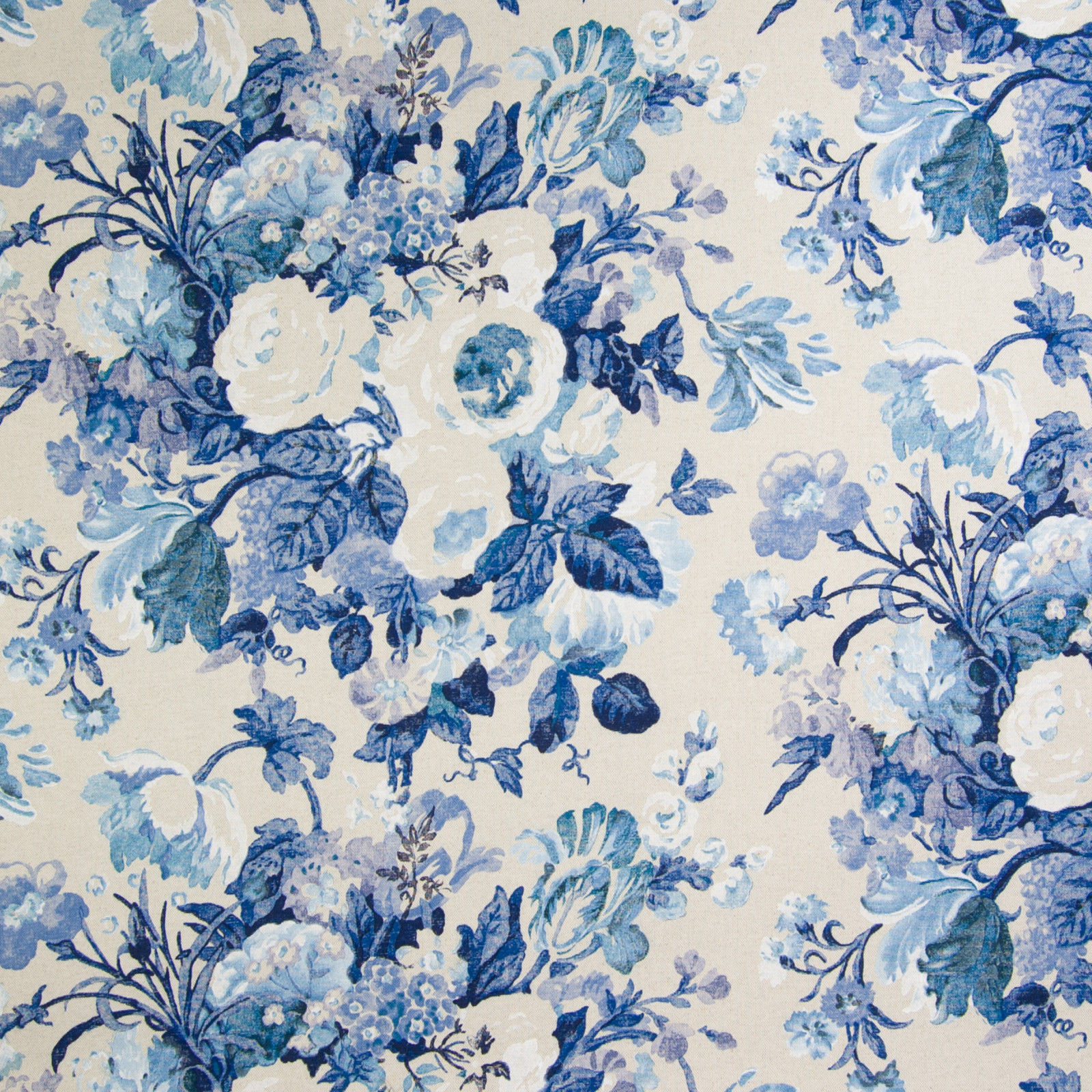 Cobalt Blue Floral Print Upholstery Fabric