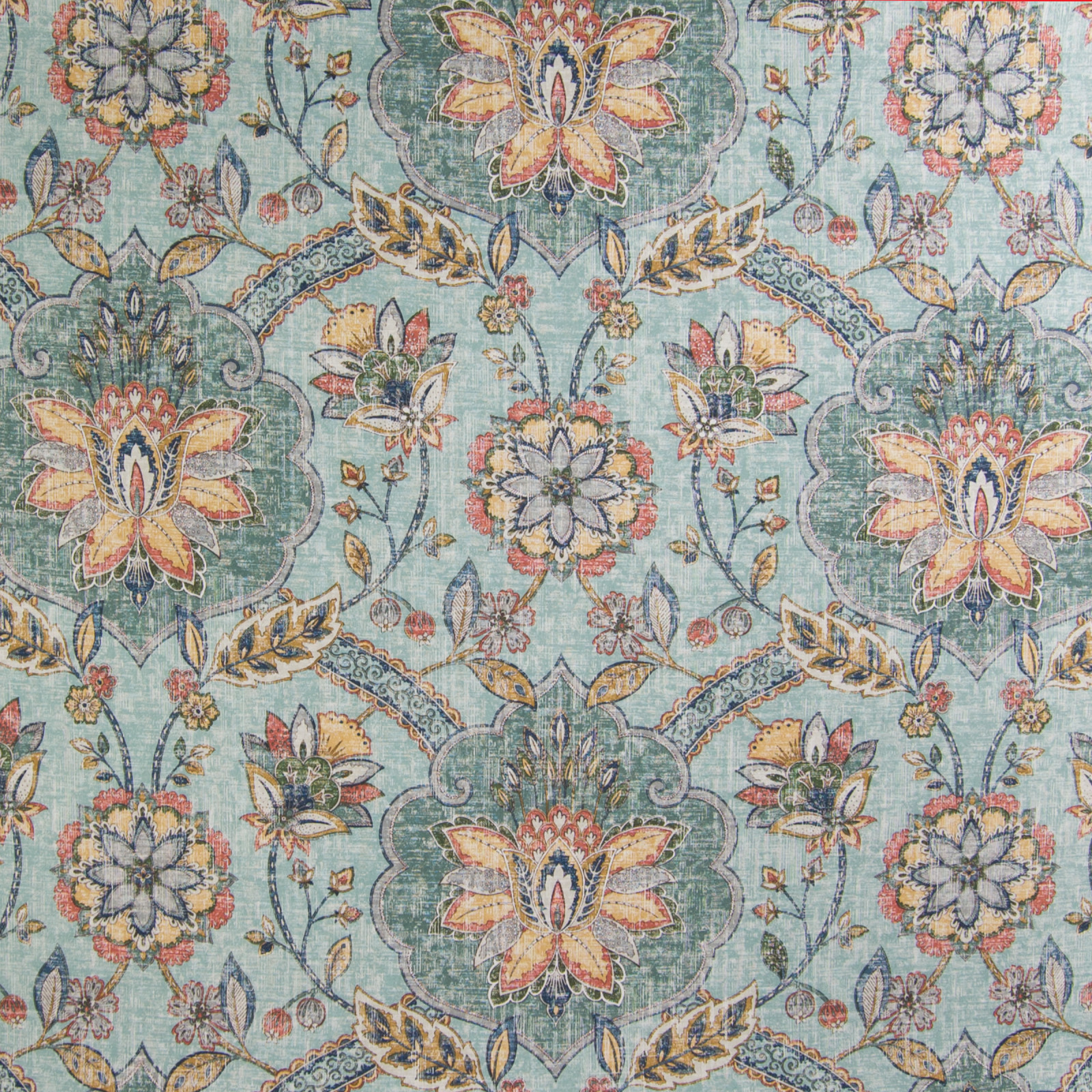 Persian Blue Blue Medallion Print Upholstery Fabric