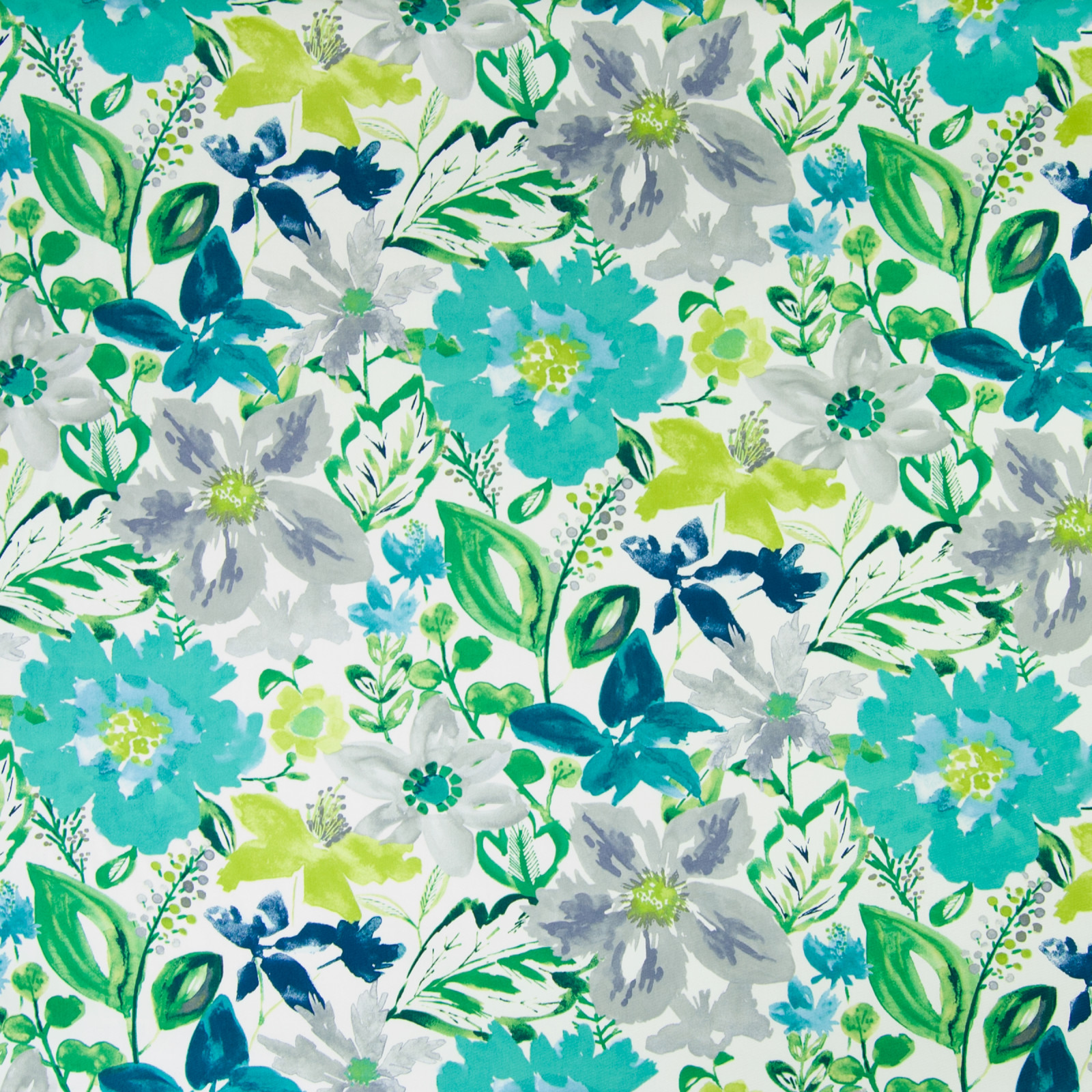 Turquoise Teal Floral Print Upholstery Fabric