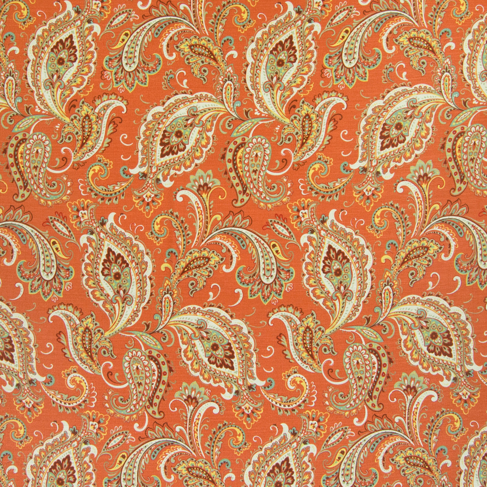 Russet Orange Paisley Prints Upholstery Fabric