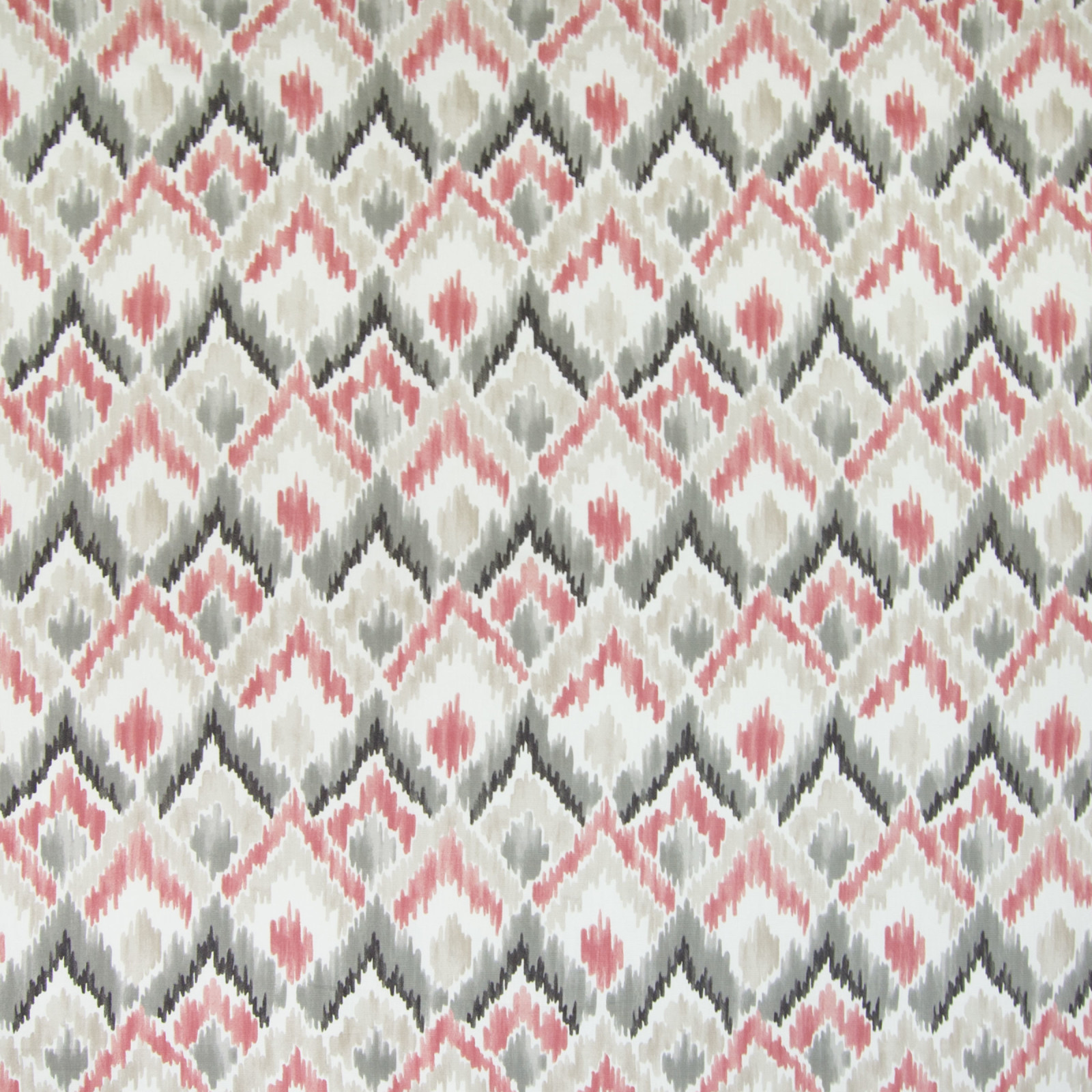 Wine Pink And Gray Ikat Prints Upholstery Fabric