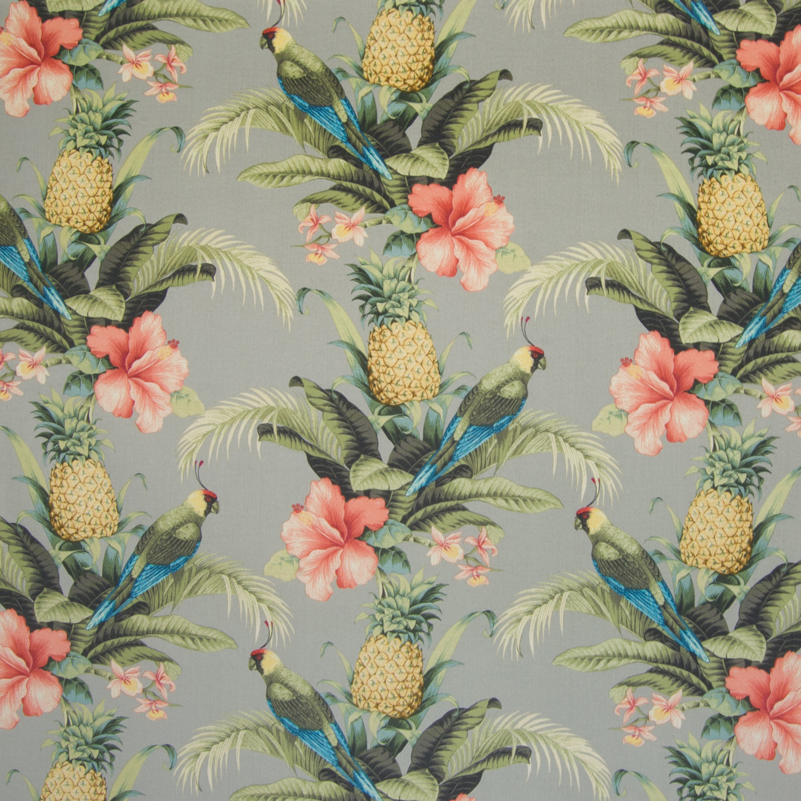 Tangelo Gray And Green Tropical Outdoor Upholstery Fabric