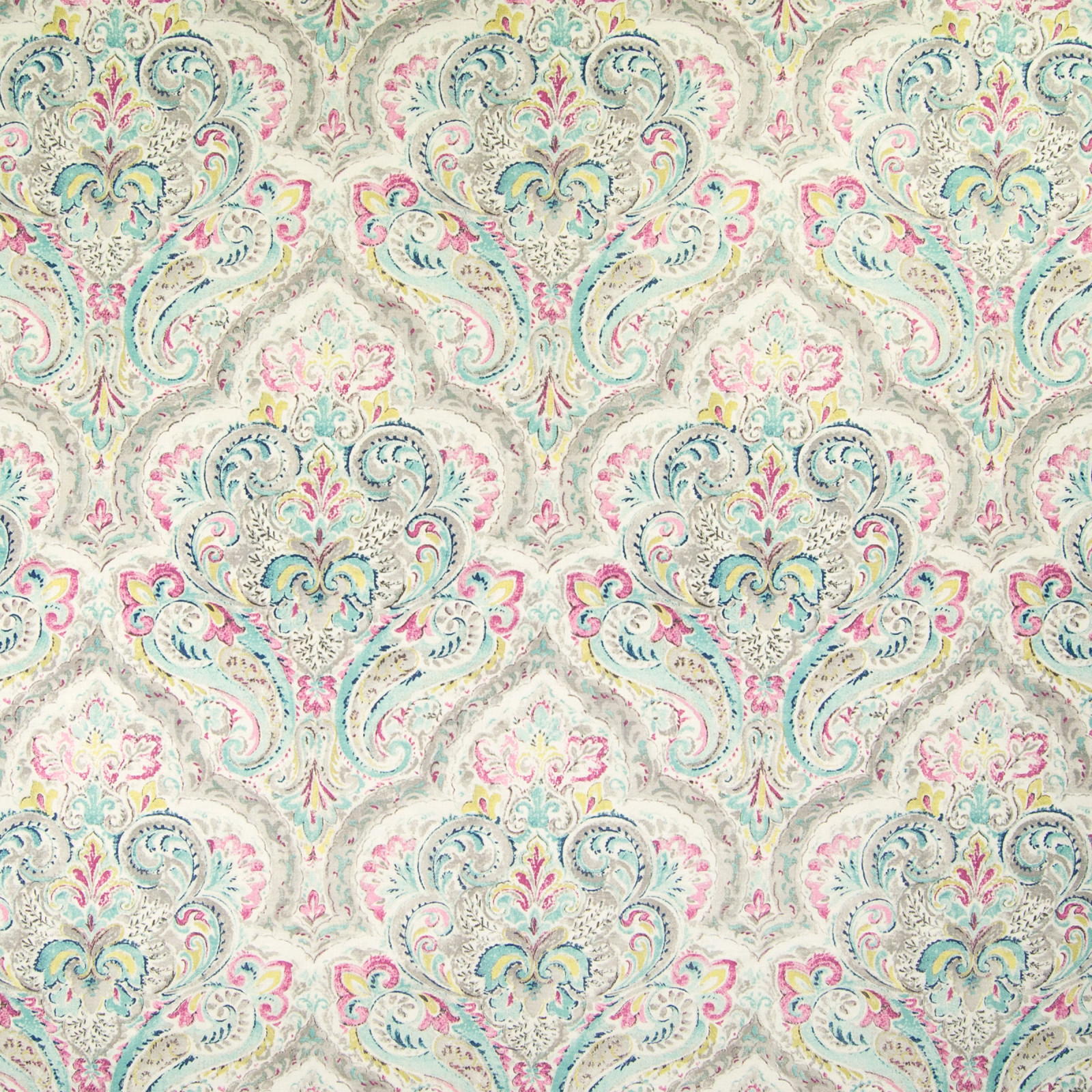 Mint Pink Paisley Print Upholstery Fabric