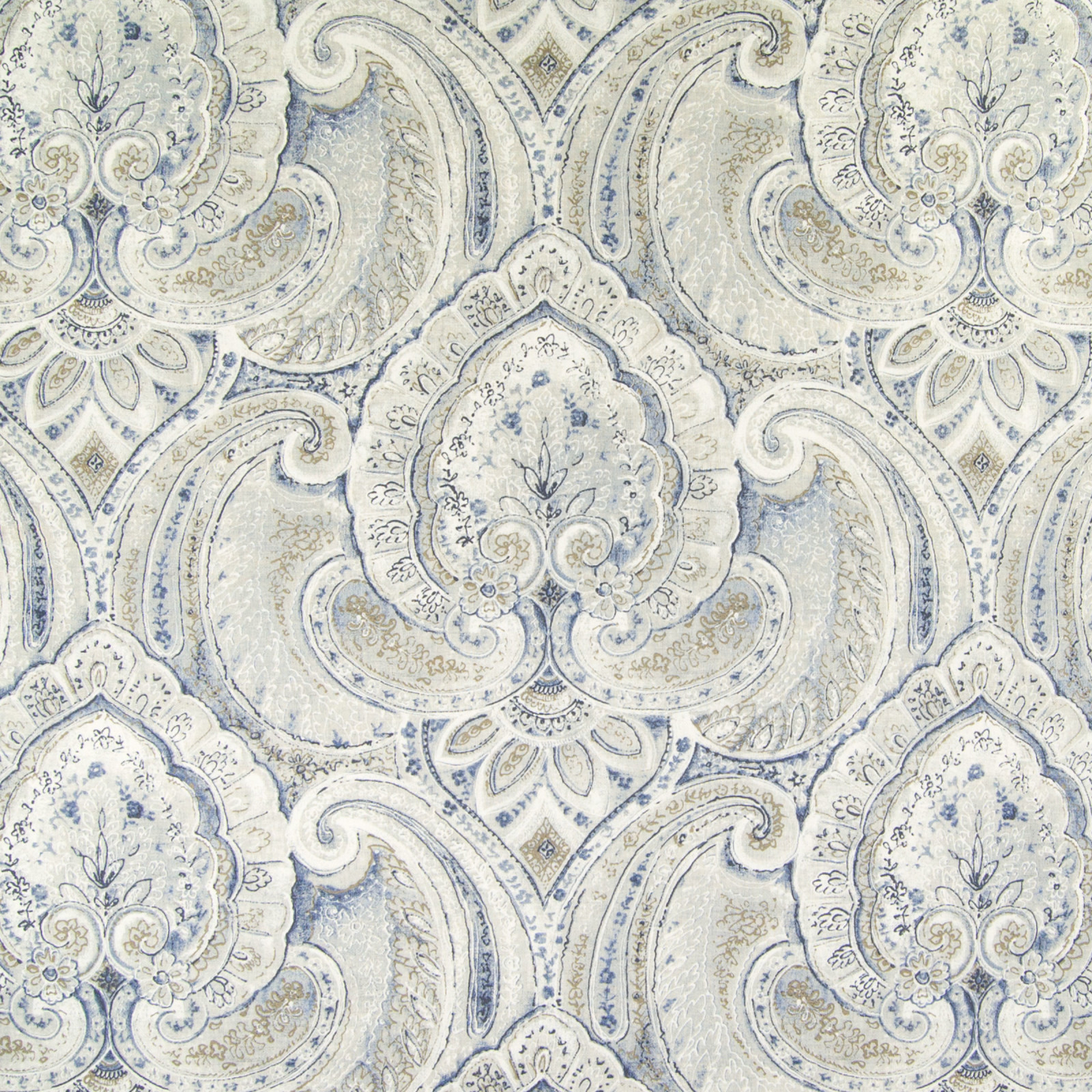 Delft Blue Floral Cotton Upholstery Fabric