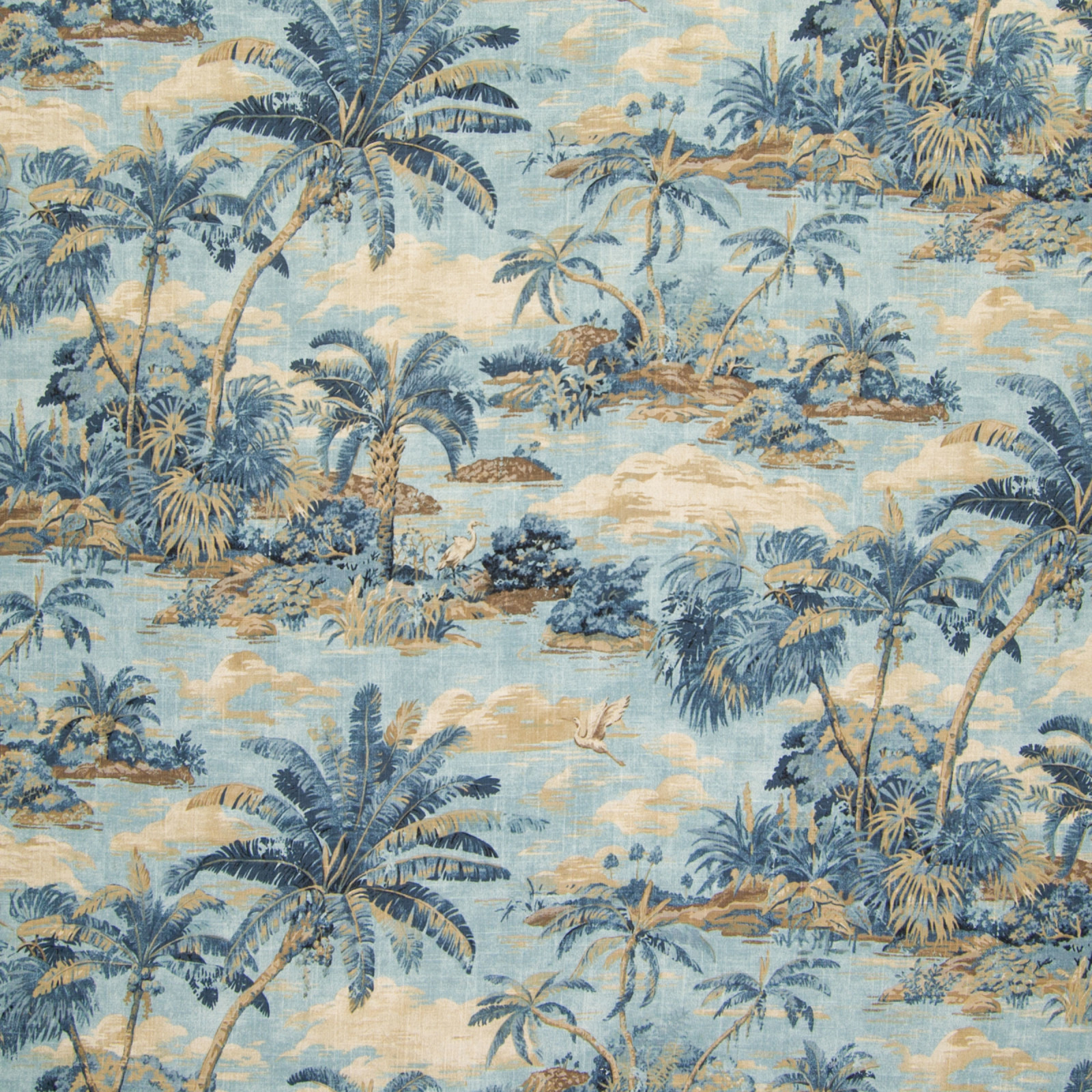 Riptide Blue Beach Cotton Upholstery Fabric