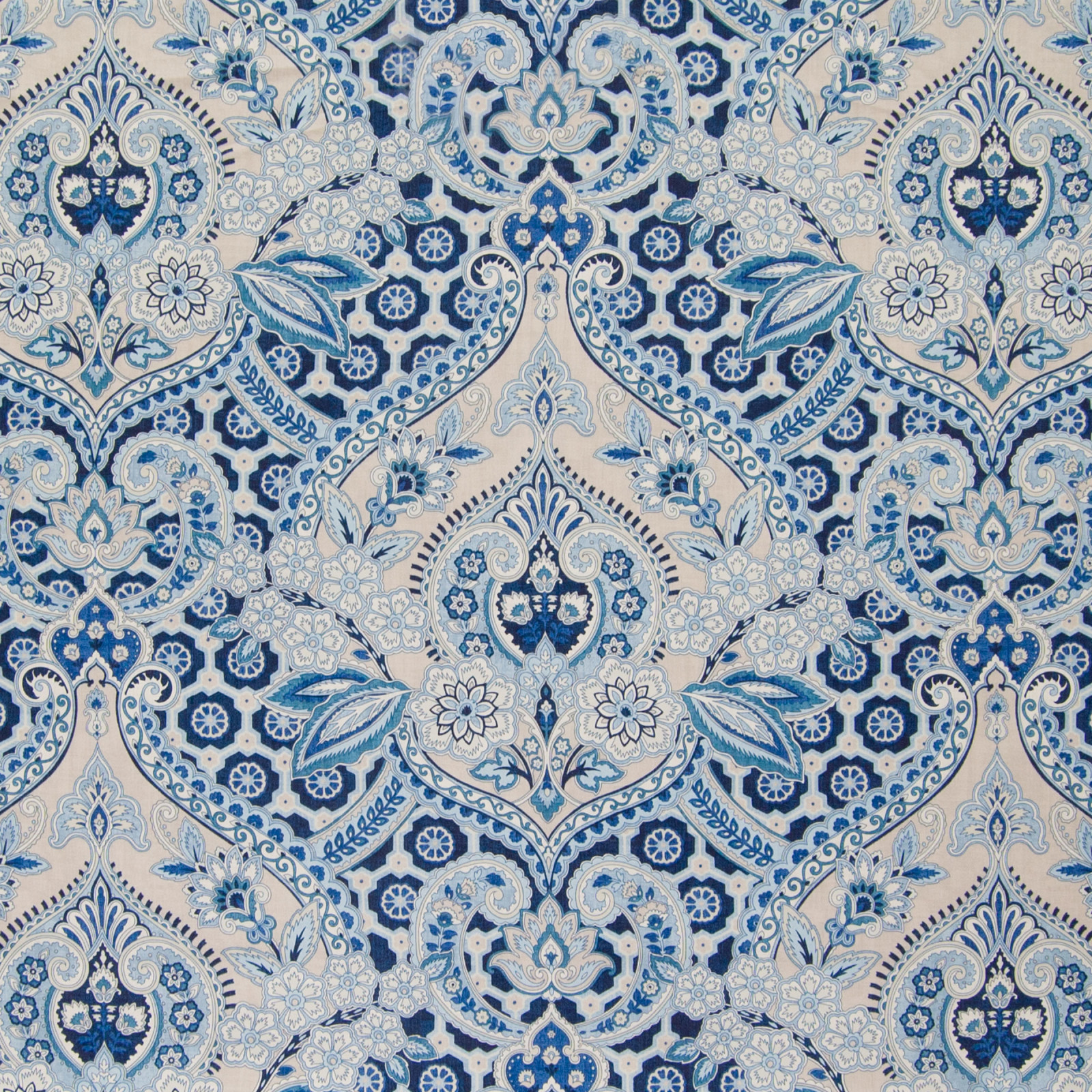 Ocean Blue Paisley Cotton Upholstery Fabric