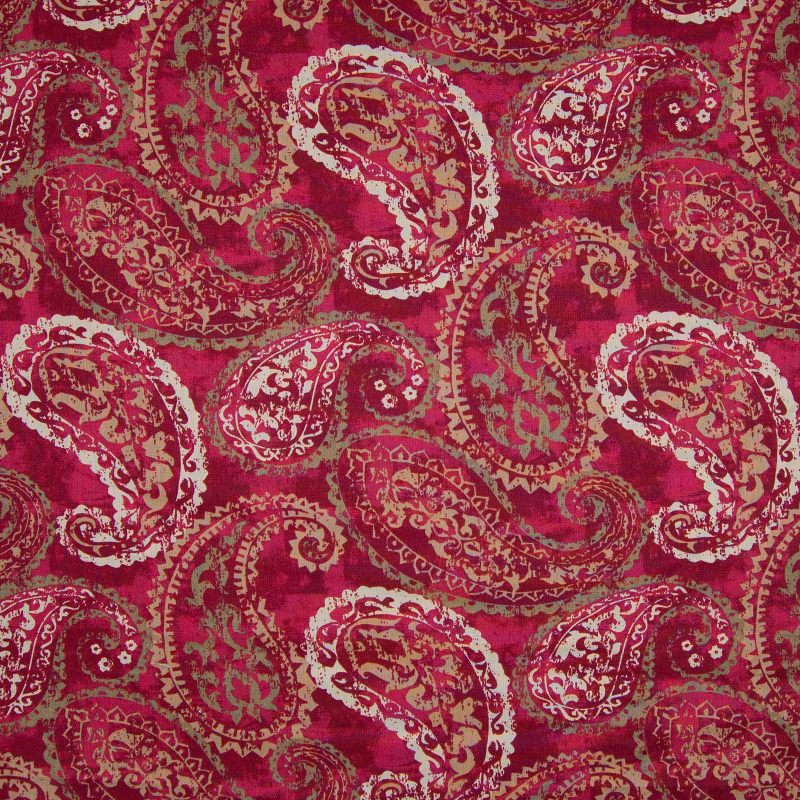 Passion Red Paisley Cotton Upholstery Fabric