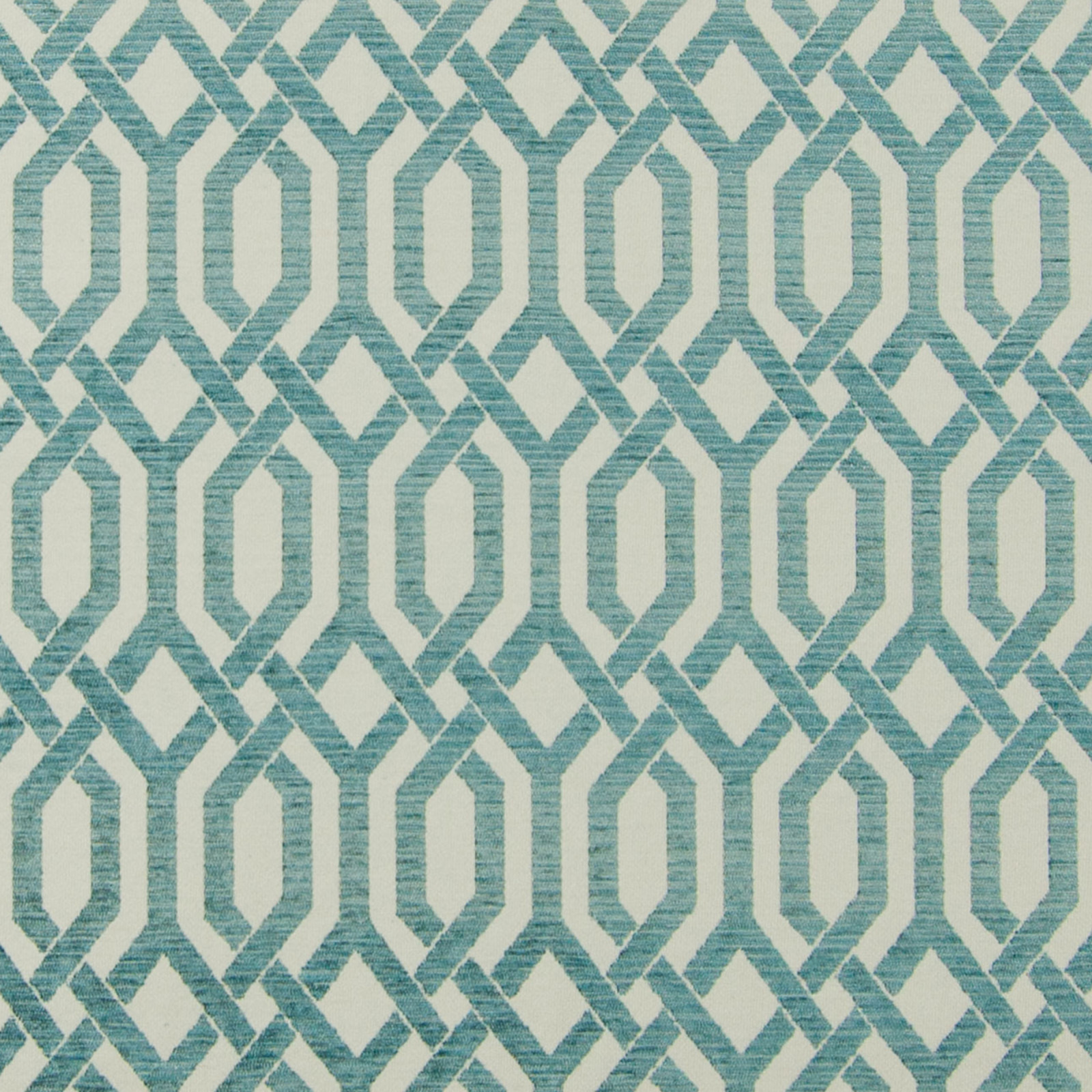 Turquoise Blue And Teal Geometric Woven Upholstery Fabric