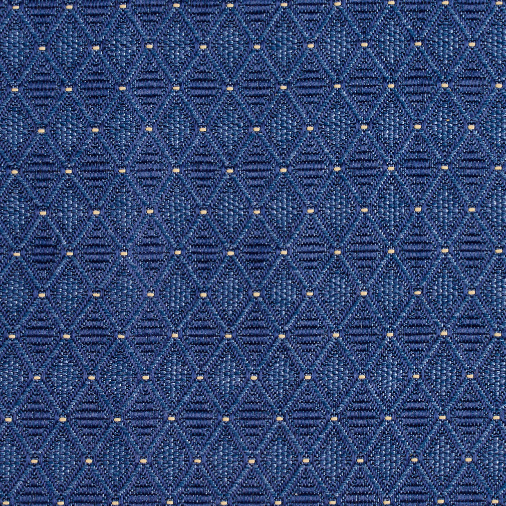 Denim Blue Diamond Geometric Pattern Damask Upholstery Fabric