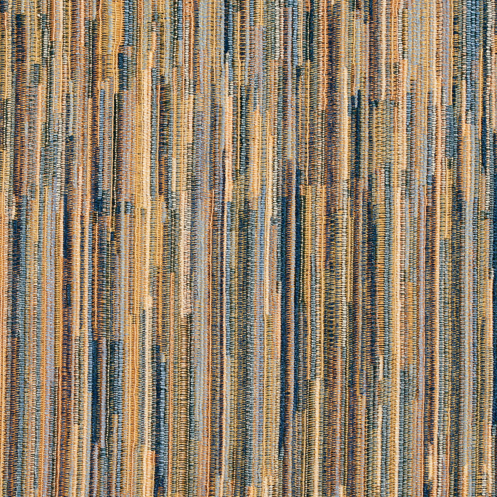 Blue Brown And Gold Striped Damask Upholstery Fabric