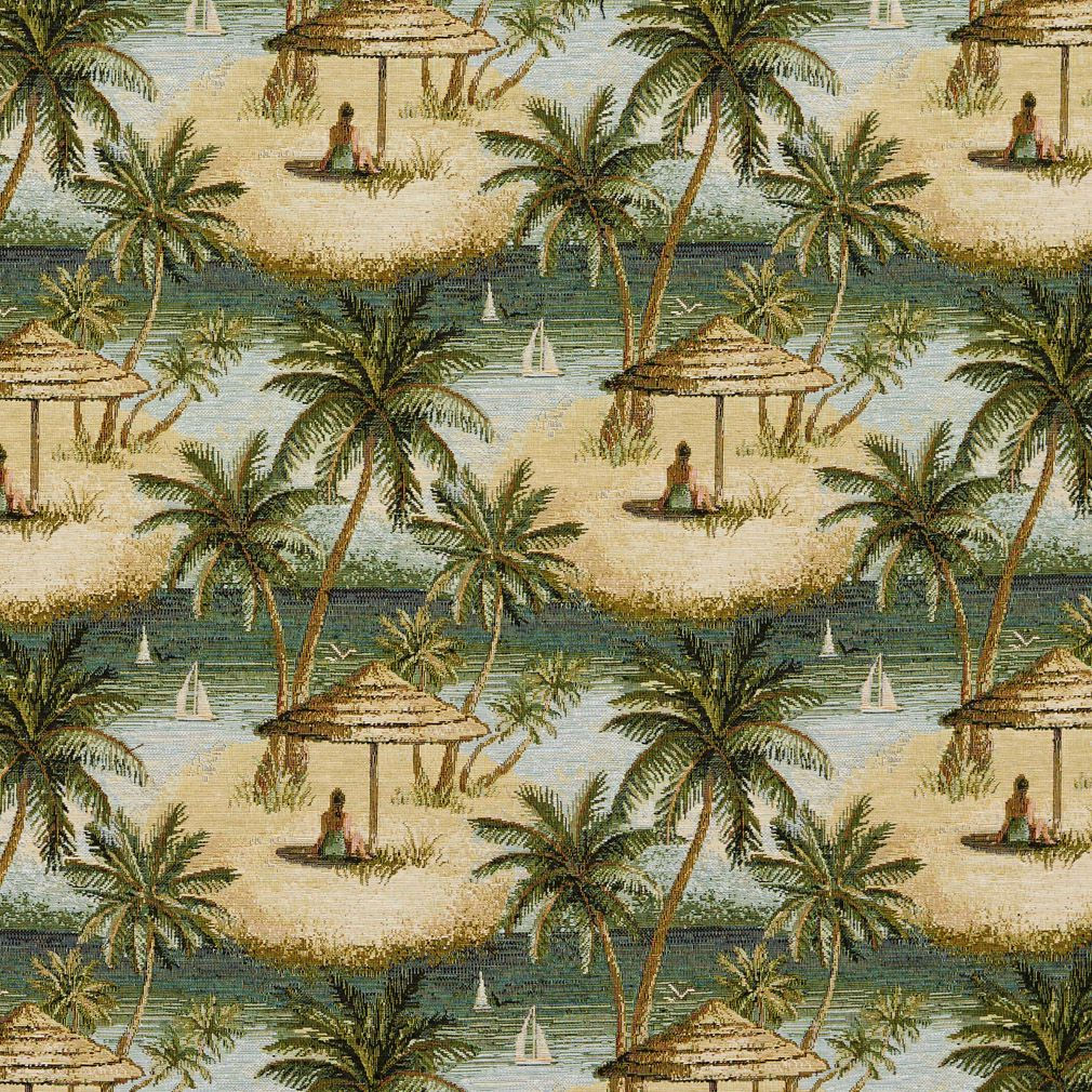 Beige And Green Beach And Palm Tree Pattern Upholstery Fabric