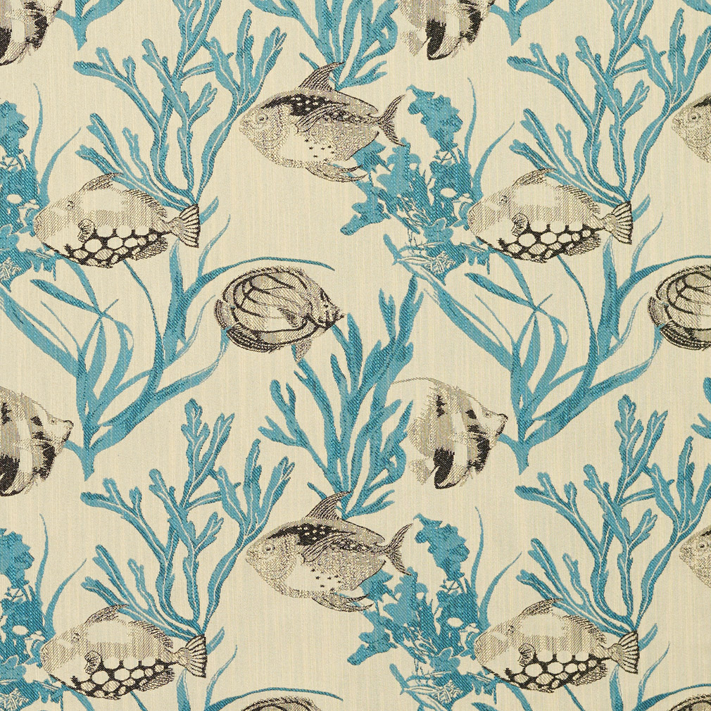 Aqua Black And Beige Aquatic Fish And Clam Print With