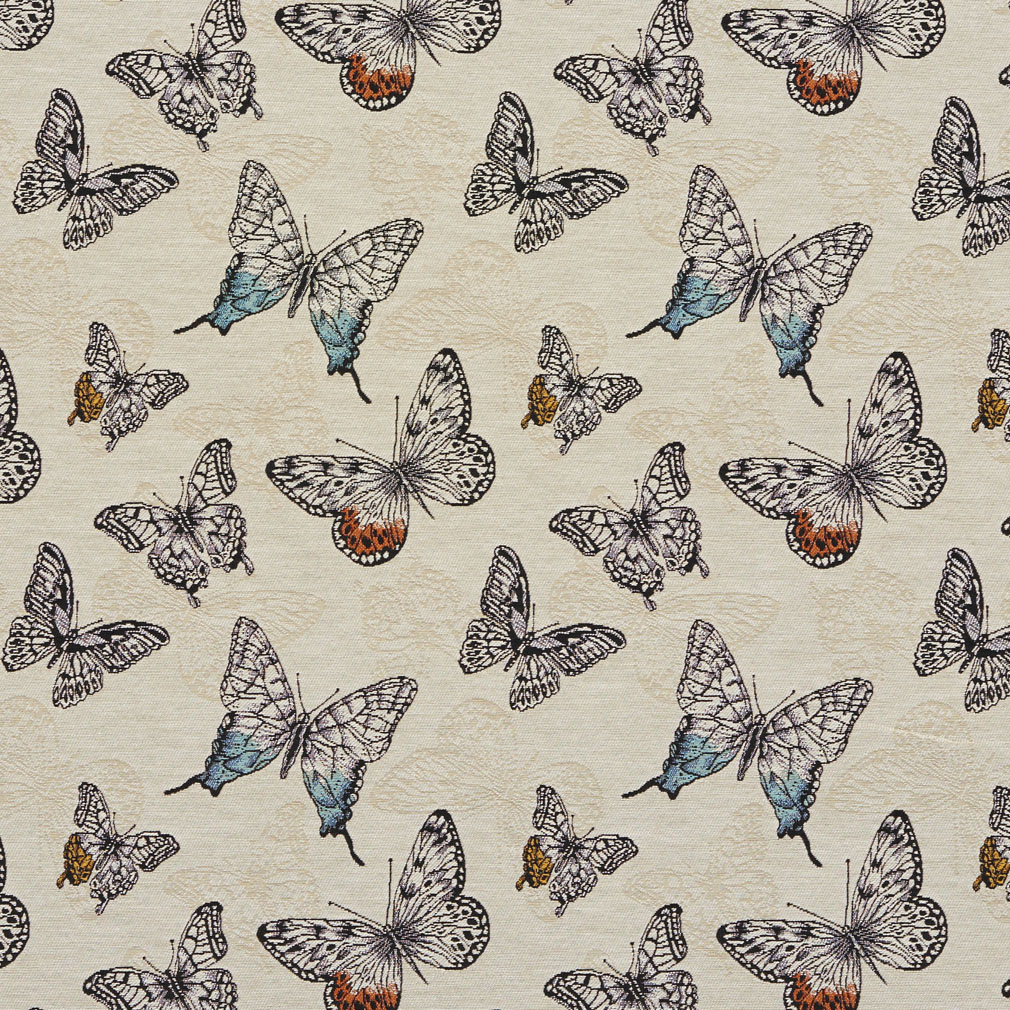 Beige Blue Orange Contemporary Modern Print Linen