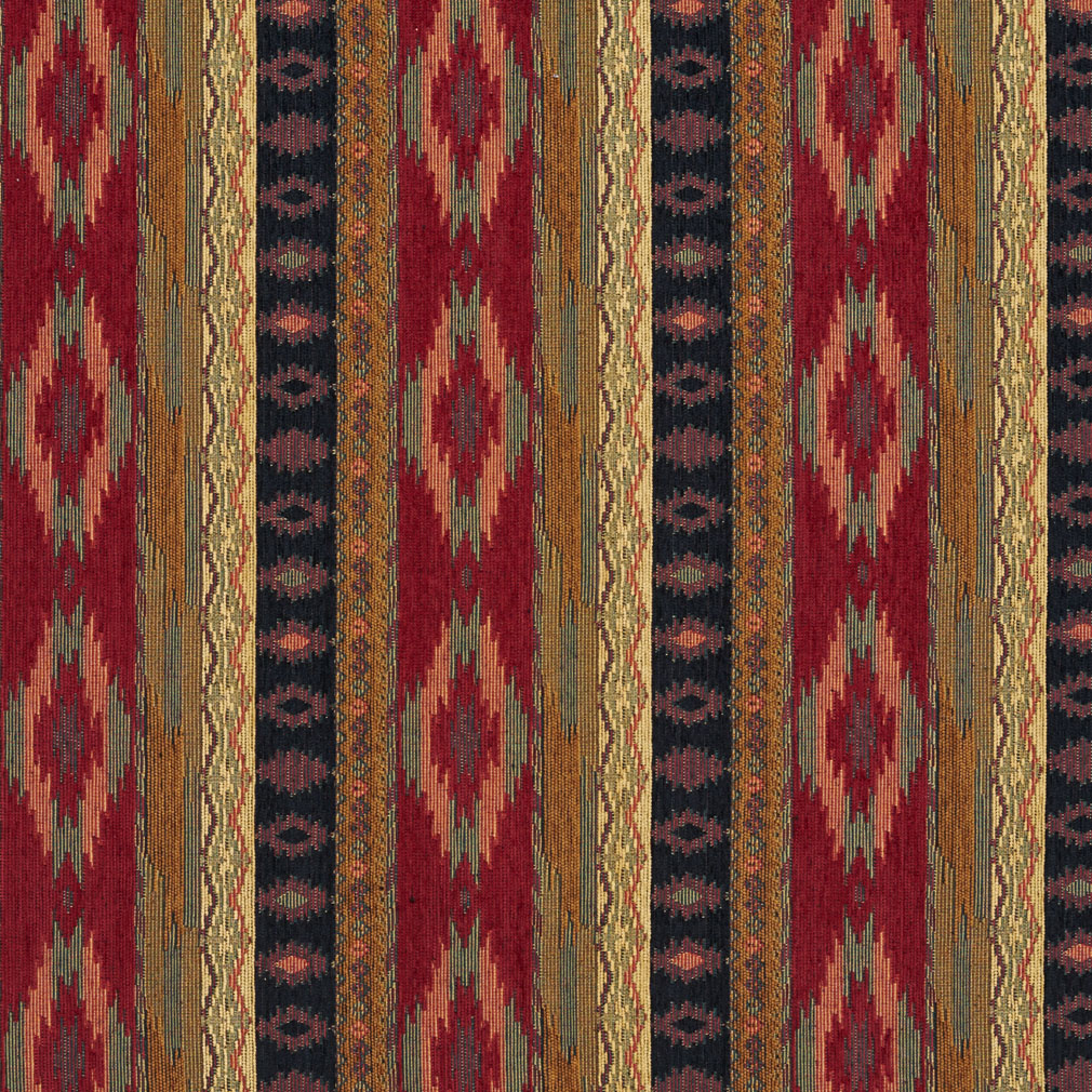 Black And Burgundy Southwestern Mexican Ranch Stripe