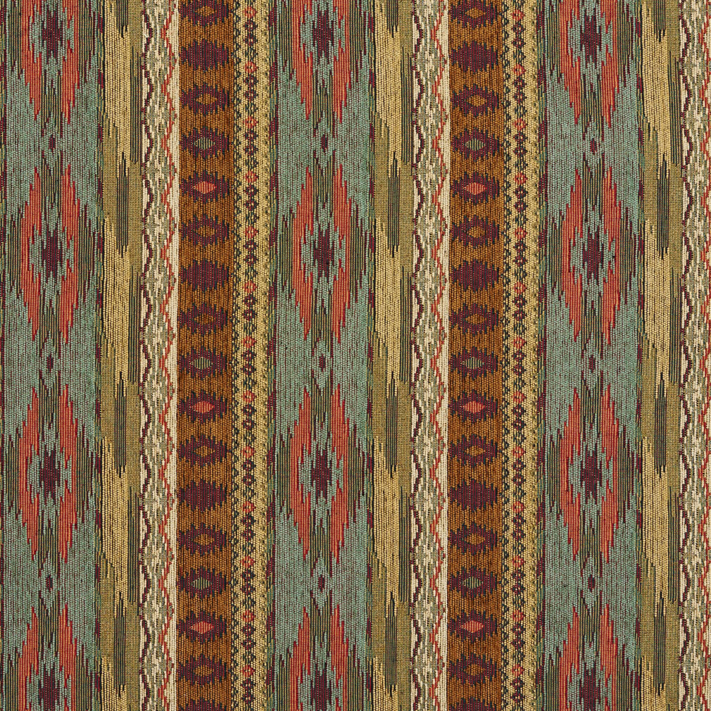 Teal Gold And Red Southwestern Mexican Ranch Stripe
