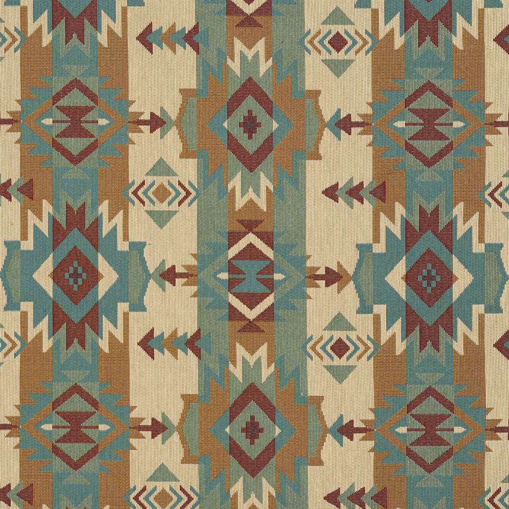 Teal and Beige and Green Geometric or Country or ...