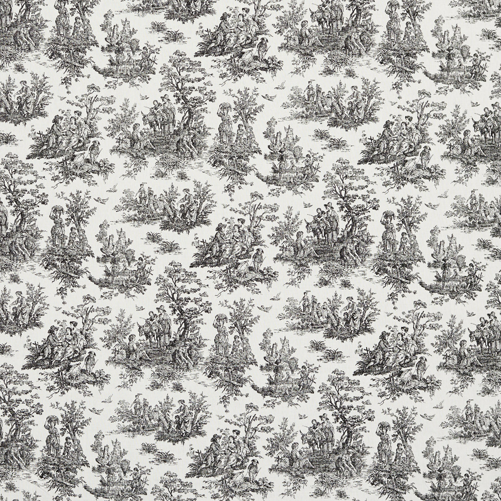 Black And White Toile Print Upholstery Fabric