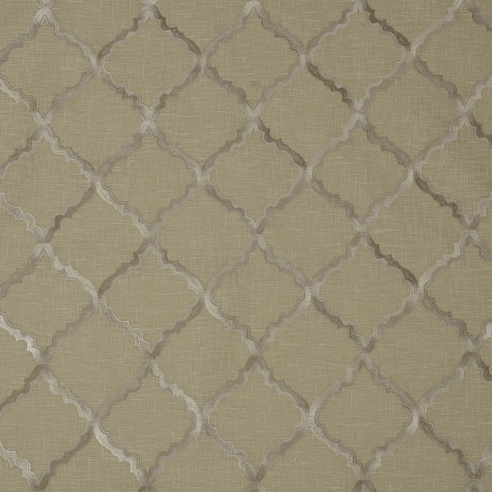Taupe Metallic And Beige Lattice Embroidery Drapery And