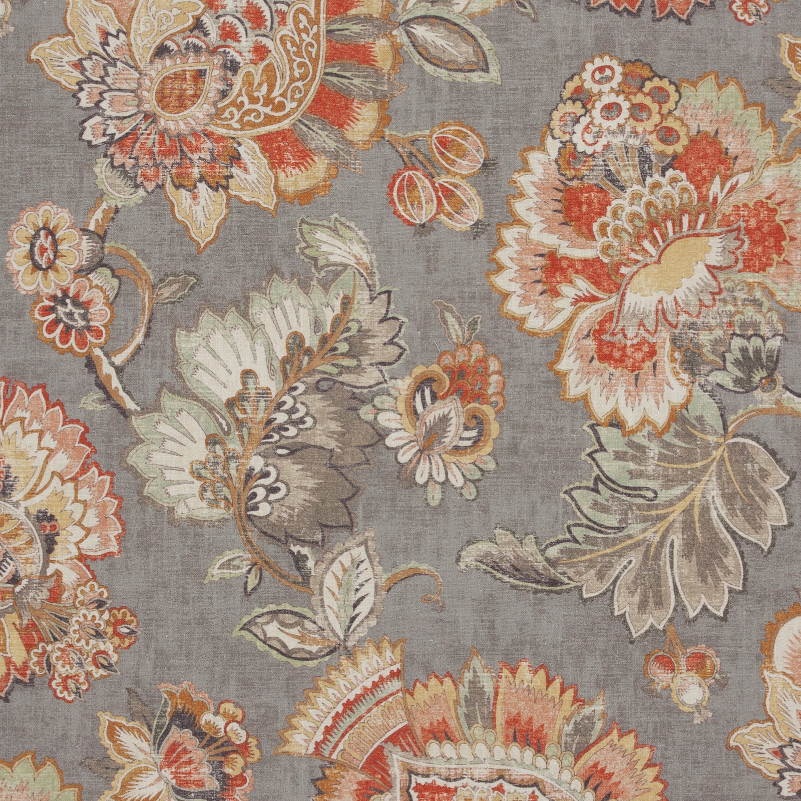 Rustic Gray Floral Multi Purpose Upholstery Fabric