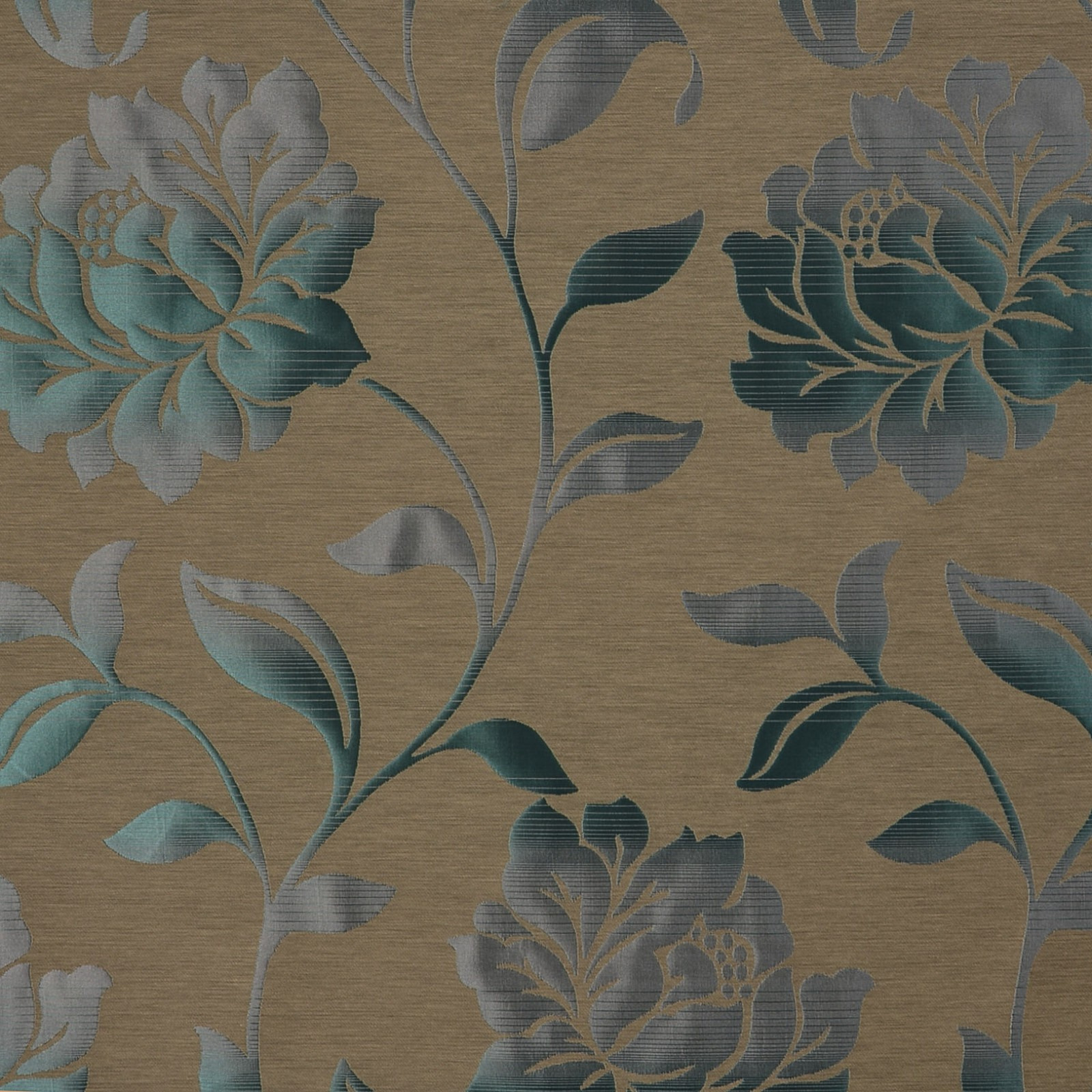 Teal Blue And Gray Floral Damask Drapery And Upholstery Fabric