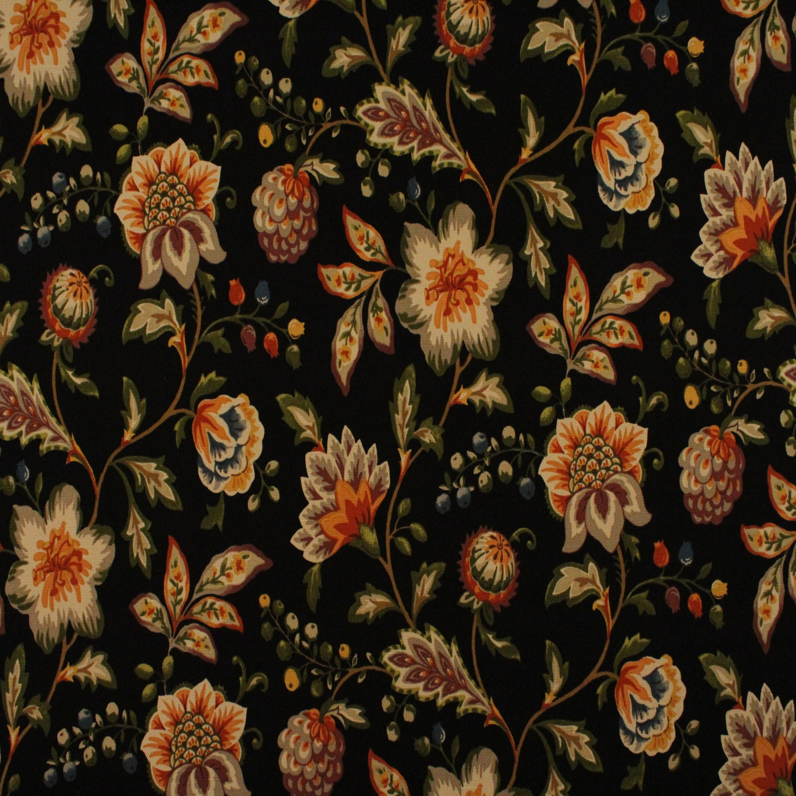 Onyx Black Floral Print Upholstery Fabric
