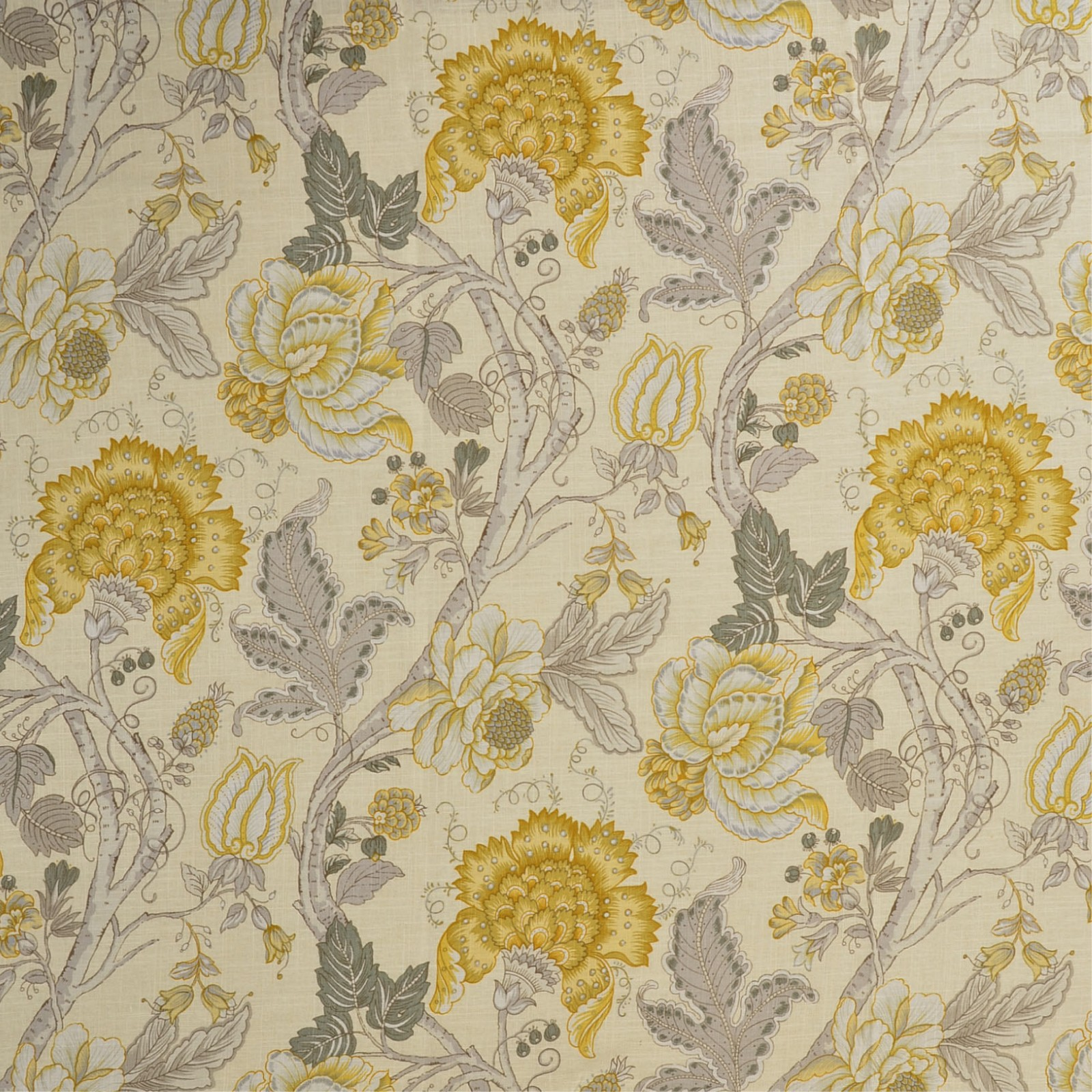 Yellow Gray And Yellow Floral Print Upholstery Fabric