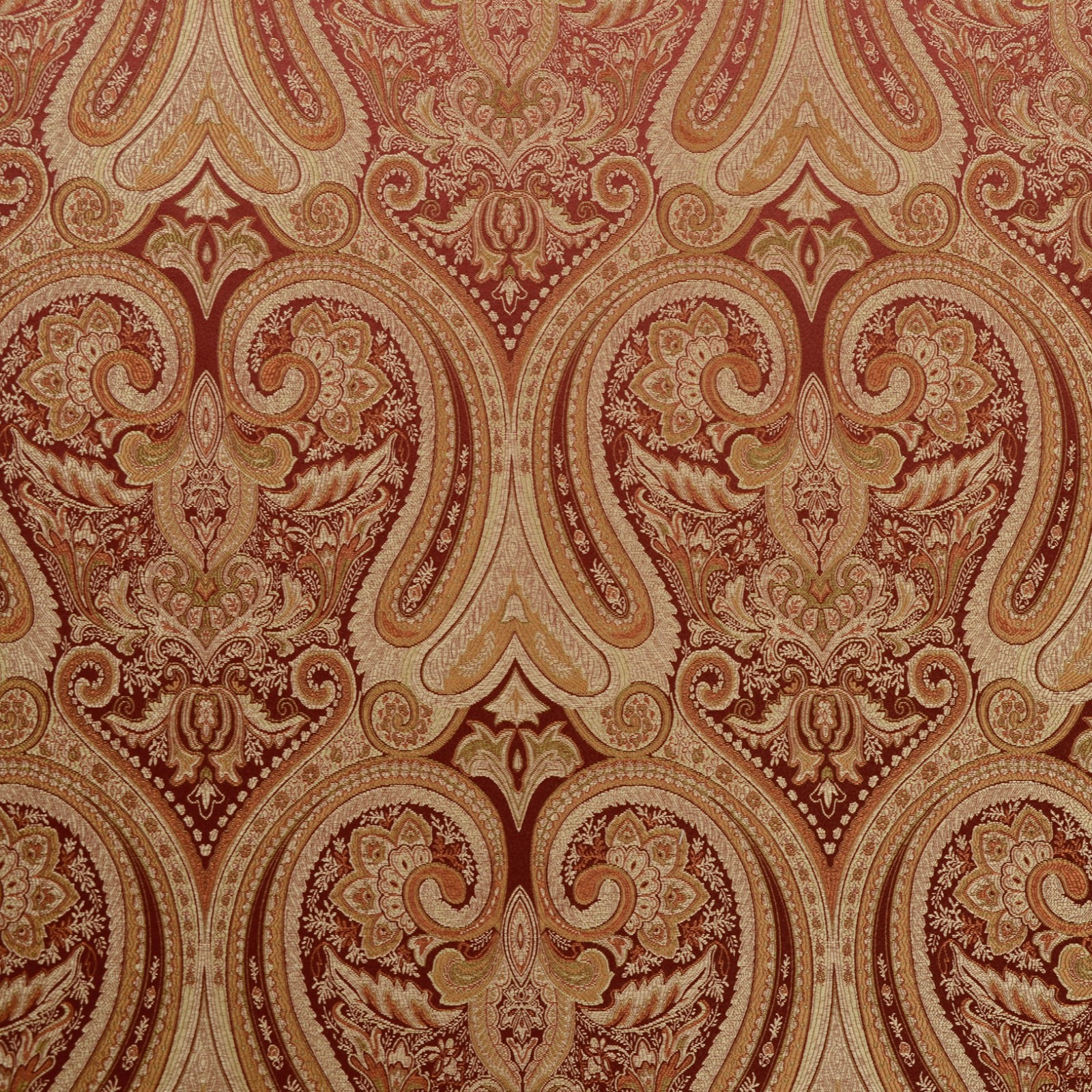 Rust Brown And Gold Paisley Damask Upholstery Fabric