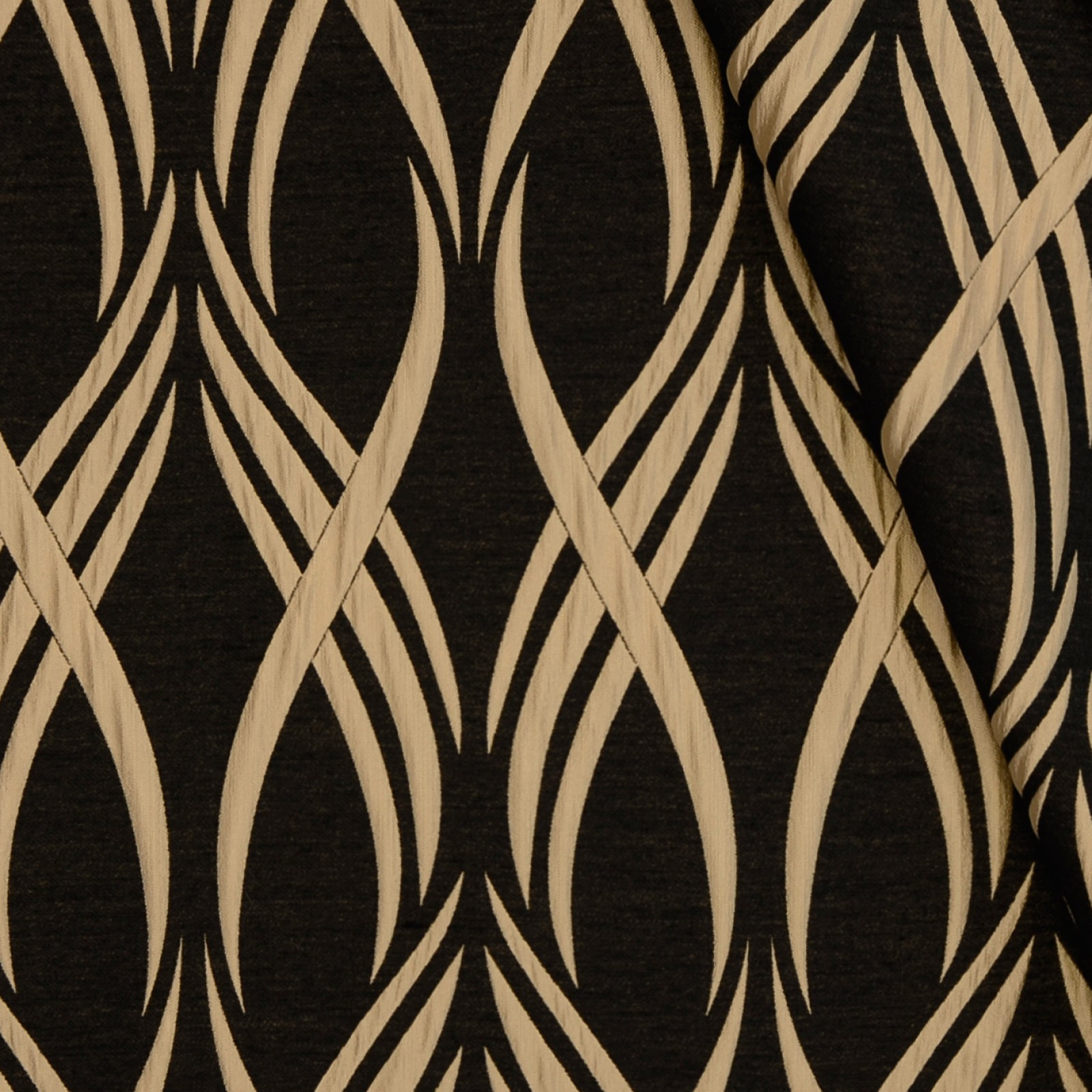 Black Black And Beige Contemporary Jacquard Upholstery Fabric