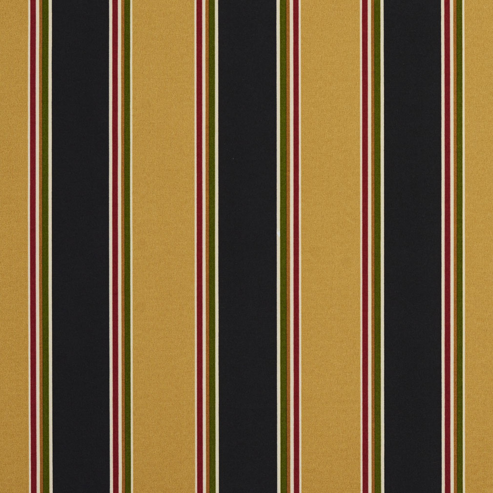 Black And Gold Large Stripe Print Upholstery Fabric