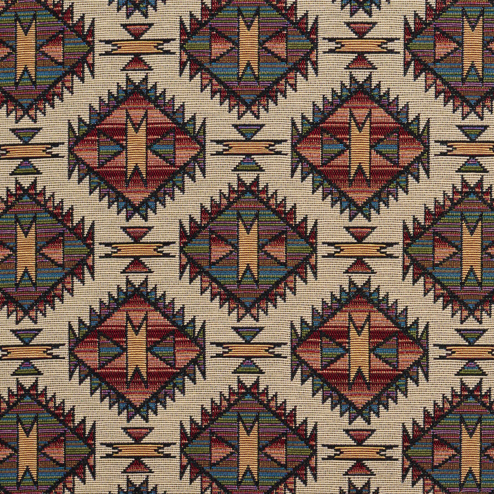 Burgundy Tan And Green Navajo Southwestern Upholstery Fabric