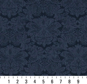 Navy Dark Blue Floral Damask Upholstery Fabric