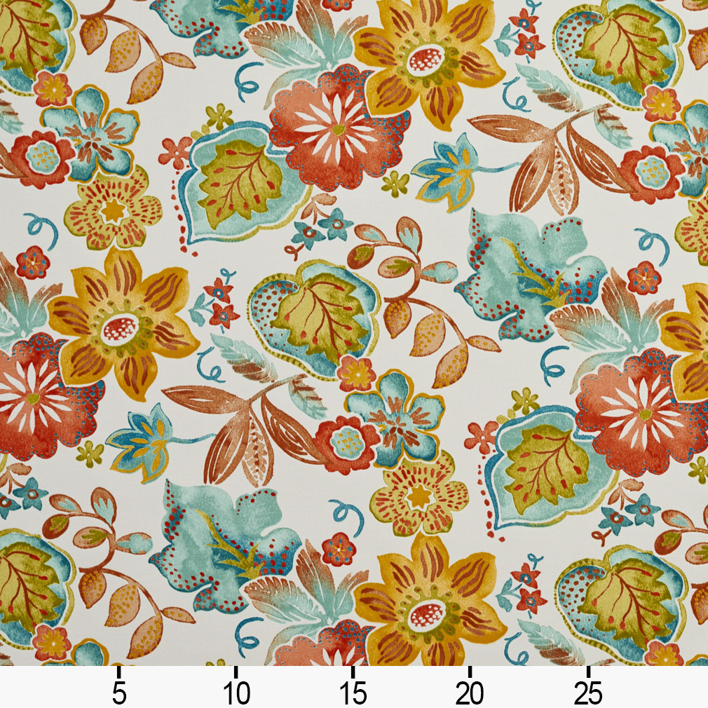 Aqua And Coral Floral Modern Jacobean Print Upholstery Fabric