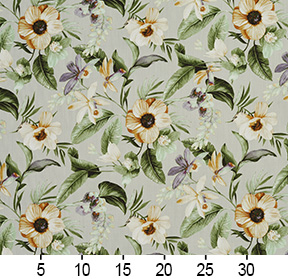 Green Amber And Beige Large Flower Print Linen Upholstery Fabric