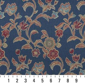 Azure Coral And Dark Blue Floral Brocade Upholstery Fabric