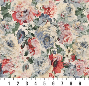 Blue Light, Coral / Peach / Persimmon, Green Dark, Green Light, White / Off  White Floral   K7946 BOUQUET Upholstery Fabric