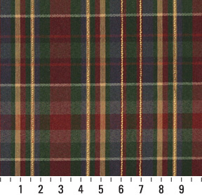 Dark Green Country Plaid Linen Upholstery Fabric 8479