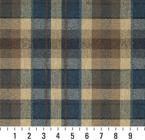 Navy Beige And Brown Country Plaid Tweed Upholstery Fabric