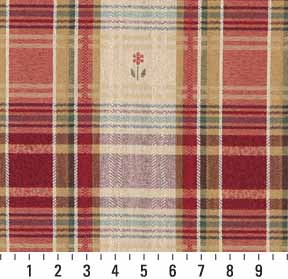 Beige Tan And Burgundy Country Plaid Cabin Damask