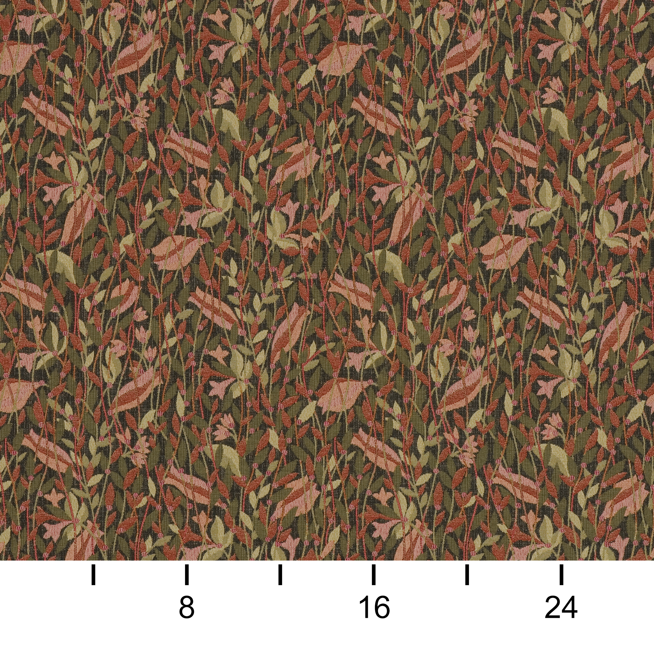 Tupelo Garden Grey and Red Leaves Woven Upholstery Fabric